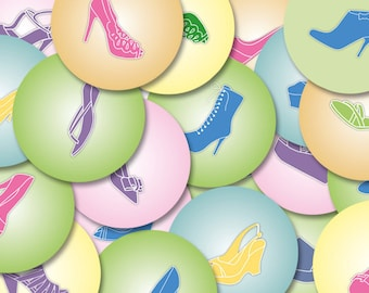 Digital SHOES 1.313 inch circles for bottle caps, magnets, cabochons, button badges, craft, journal, scrapbooking,