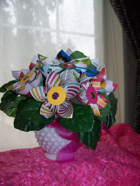 Little Mermaid Kusudama Paper Flower Arrangement In White