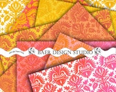 Damask Digital  Scrapbook Paper in Orange, Pink and  SunYellow for Wedding/Showers/Birthdays commercial/ personal use for