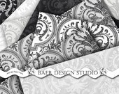 Silver, Black,Gray Damask Digital Scrapbook Paper-Digital Collage Sheet-Weddings/Photo Cards/Engagements/Anniversary