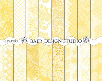 Shabby Chic Digital Paper, Yellow Digital Paper, Yellow lace digital paper, Lace Digital Paper, Yellow Damask Digital Paper,  12x12, #15182