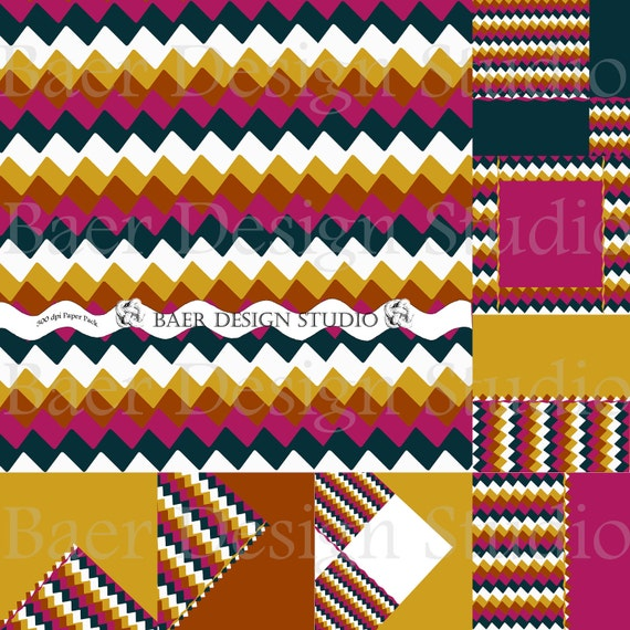 Missoni Inspired Digital Scrapbooking Papers- CHEVRON gold, blue, fushia and brown- modern geometric angles