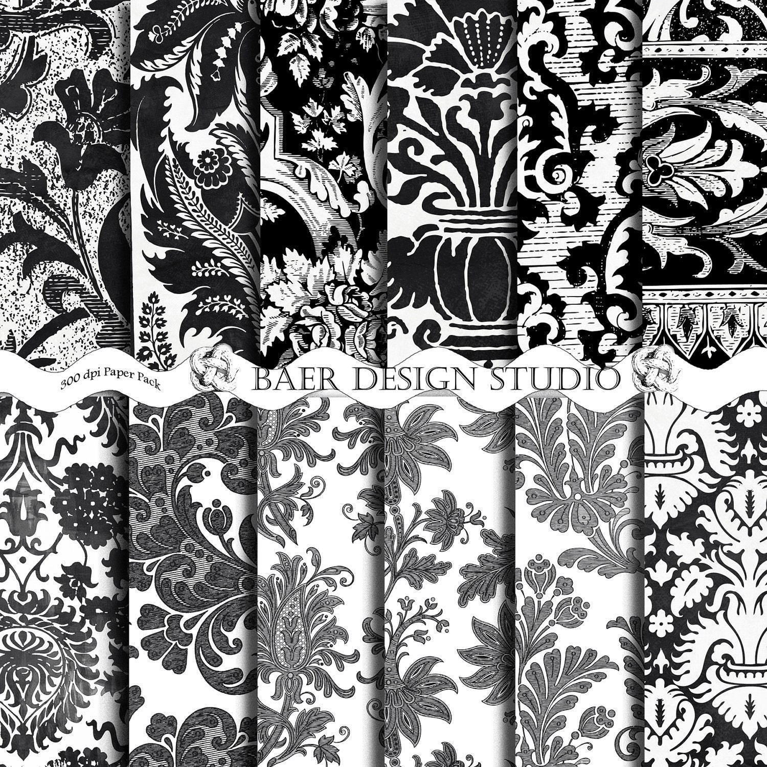 50% off-Black and White Damask DIGITAL SCRAPBOOKING PAPER ...