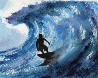 surfer painting small aceo, surfer, Surfing the Blues, giclee, wave, dollhouse, miniature