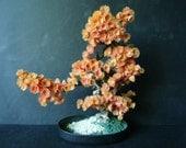 SUPER COOL Bonsai Tree - Midcentury Kitsch - Real Wood & Plastic Flowers Bonsai Tree - Very Large
