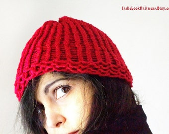 Hand Knit Hat Red Hot Knit Beanie Hat