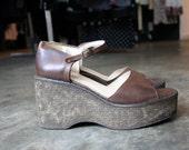 vintage 90s BOHO steve madden platform wedge brown peep toe sandals size 10