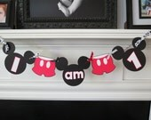 "Mickey Mouse Highchair Banner-""I am 1"""