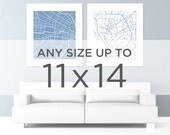 "11x14"" City Map Wall Art: Choose any city and color in the shop"