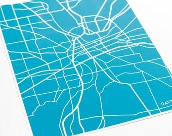 Dayton Ohio Map Print Wall Art / University of Dayton Line Art Dorm Decor / 8x10 / Customized colors