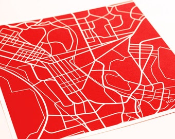 Hong Kong Map Print City Art / China Street Map Custom Wall Decor / 8x10 Digital Print  / Choose your color