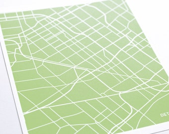 Detroit City Map Art Print / Choose your City & Color / 8x10 / Wall Art Poster