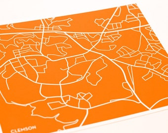 Clemson SC Map Art / University City Print / 8x10 Grad Gift / Any color of your choice