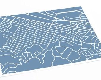 Burlingame City Print Wall Art / California Bay Area Map Abstract Art / 8x10 Digital Print / Choose your color