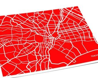 Tokyo City Map Art Print / Japan Map Poster City Street Art / 8x10 Digital Print / Personalized colors
