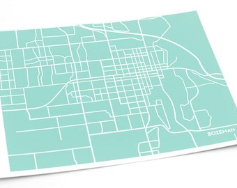 Bozeman City Map Art Print / Montana State University Grad Gift Dorm Decor MSU / 8x10 / Choose your  color