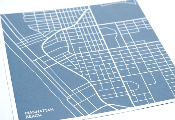 Manhattan Beach Map Print City Art / California LA Modern Line Art Poster / 8x10 Giclee Print / Choose your color