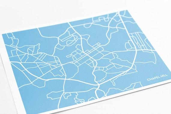 Chapel Hill Print City Map Poster / UNC Tar Heels University Art / 8x10 Digital Print / Personalized colors