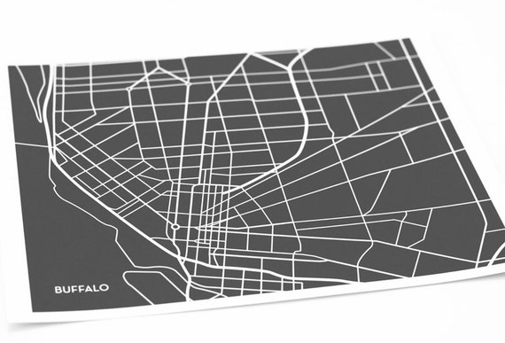 Buffalo, NY Map Wall Artwork / Modern City Art Digital Print / 8x10 / Any Color
