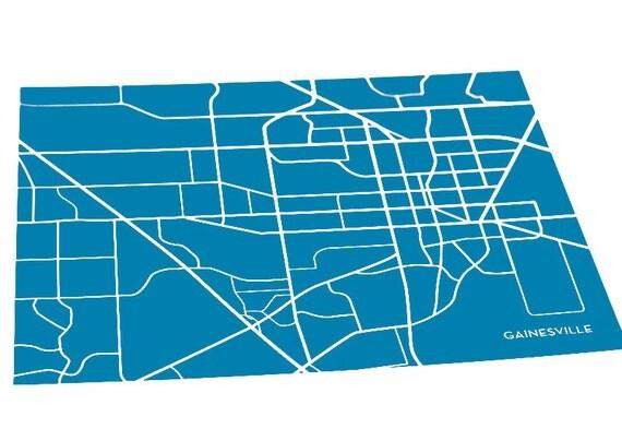 Gainesville City Map Print / University of Florida Gators Grad Gift / 8x10 / Personalized colors