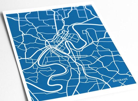 Brisbane City Map Art Print / Australia Modern Line Art Drawing / 8x10 Digital Print / Wall Art Poster