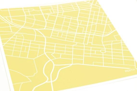Perth Australia Map Art Print / 8x10 City Map Wall Decor / Custom Colors