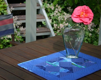 Last One - Half Price Discount - Blue Diamond Batik Table Topper - Table Runner End of Line Item