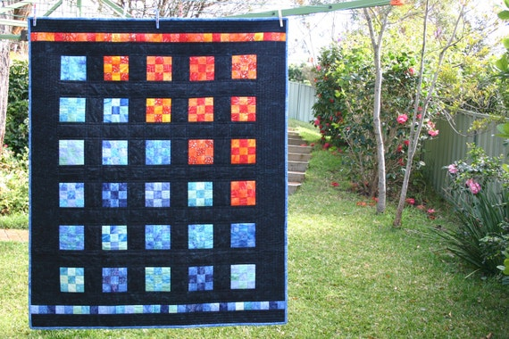 City Lights Vibrant Nine-Patch Batik Couch Throw or Lap Quilt