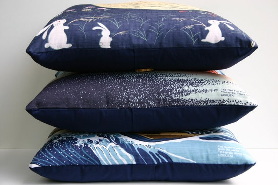 CIJ Promotion - Japanese Pillow Cover - Rabbits and Dragonflies Furoshiki 18 x 18 Japanese Pillow Cover - Christmas in July