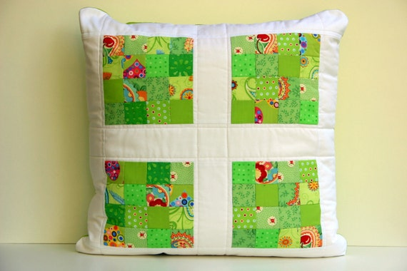 Summer Lime Patchwork Pillow Cover - 20 x 20 Pillow Cover - Cushion Cover