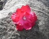 SALE 15% OFF Pink flower hair clip