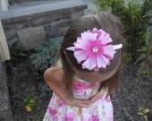 SALE 15% Off Pink flower headband