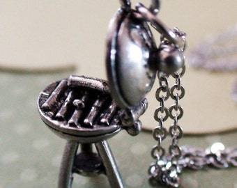 BARBEQUE - Pewter Charm on a FREE Plated Chain