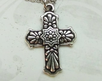 TALAVERA CROSS Necklace - Pewter Charm on a FREE Plated Chain