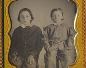Young Brothers Beautiful cased Daguerreotype photograph 19th century 1800s