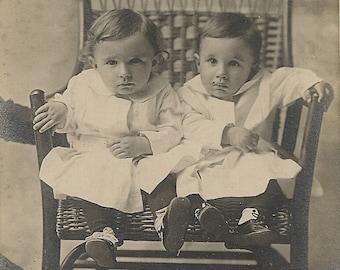 Twin Brothers Boys Portrait Dallas Texas vintage original antique cabinet card photo