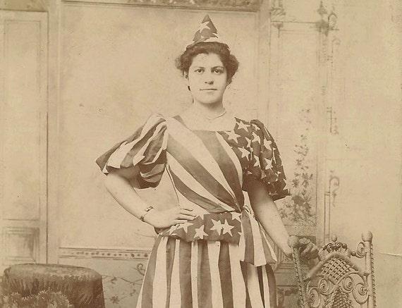 Patriotic Flag Dress 4th of July Cabinet Card Photograph original vintage America US