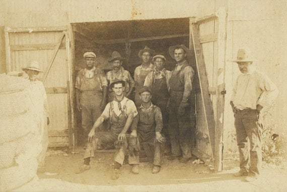 Pair East Texas Cotton Gin & Workers 2 cabinet cards