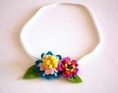 Felt Flower Headband , Baby headband,  handmade felt flowers , blue , yellow , pink 100% HANDMADE