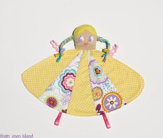 Sensory Baby toy  ,plush doll , taggie , cloth doll , bright colors,  cotton , yellow , lilac , whimsical