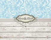 """ALL IN ONE 48"""" x 99"""" Vinyl Photography Backdrop /  Light Blue Damask and Barn Wood"""