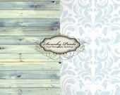 COMBO 4ft x 4ft Vinyl Photography Backdrops / Blue Watercolor Wood and Blue Vintage Damask TWO BACKDROPS