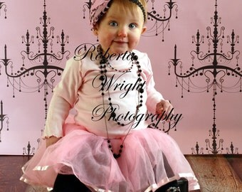 NEW PRICE 4ft x 4ft foot Vinyl Backdrop Pink Chandelier perfect for little girl photographs, newborn pics, children, babies