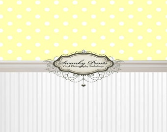 """ALL IN ONE 60"""" x 123"""" Vinyl photography Backdrop  / Baseboard, White Bead Board, Yellow Polka Dots"""