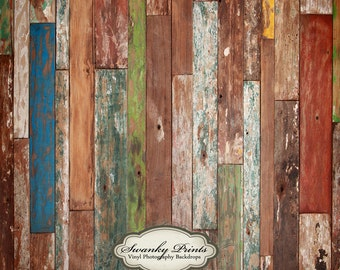 CHEAPEST PRICES 2ft x 2ft  Vinyl Photography Backdrop / Colorful Scuffed Wood