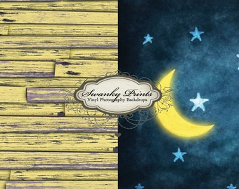 TRAVEL SIZE Two Vinyl Photography 3.5ft x 3.5ft COMBO (backdrop and floordrop) Light Yellow Wood and Goodnight Moon