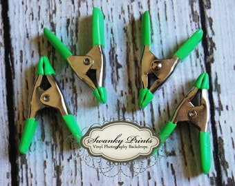 """NEW ITEM / Photography Backdrop Accessory MINI Clips /  4 Pack / Heavy Duty Clamps 2"""" long / In Stock"""