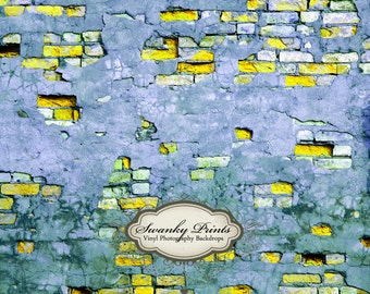 NEW ITEM 5ft x 4ft Vinyl Photography Backdrop / Yellow Blue Grunge Brick Wall