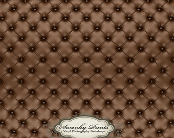 LARGE 8ft x 8ft Vinyl Photography Backdrop Chocolate Brown Tufted Leather Cushion Couch Pined Button