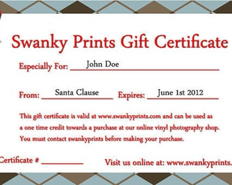90 Dollar Gift Certificate / For Swanky Prints